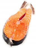 pic of salmon steak  - Raw salmon steak isolated on white background - JPG