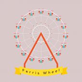 picture of ferris-wheel  - Single Ferris Wheel Vector Illustration - JPG