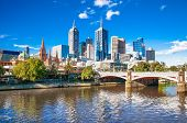 stock photo of cbd  - Melbourne skyline looking towards Flinders Street Station - JPG