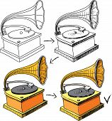 stock photo of hooters  - Vintage gramophone sketching progress - JPG