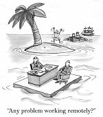 pic of gag  - Cartoon of job interview near a deserted island - JPG