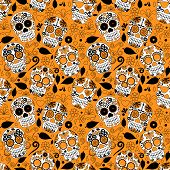 pic of day dead skull  - Day of the Dead Sugar Skull Seamless Vector Background - JPG