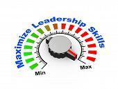 pic of maxim  - 3d illustration of knob set at maximum for maximize leadership skills - JPG