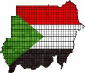 stock photo of sudan  - Abstract Mosaic Flag and map of Sudan,  Sudanian grunge mosaic flag - JPG