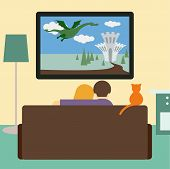 image of woman dragon  - bright colored illustration in a trendy flat style with couple and cat watching the adventure film on television sitting on the couch in the room - JPG