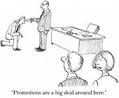 picture of promoter  - Cartoon of businessman receiving knighthood by boss as he is promoted - JPG