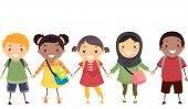 image of stickman  - Illustration of Stickman Kids Celebrating Diversity - JPG