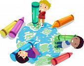 picture of stickman  - Illustration of Stickman Kids Using Crayons to Draw a Globe - JPG