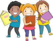 foto of bookworm  - Illustration of Smiling Kids Carrying Thick Books - JPG