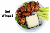 pic of chicken wings  - Buffalo Chicken Wings with Celery and Blue Cheese Dressing and Lettuce on a White Plate isolated on white with room for your text - JPG
