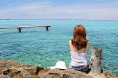 Tourist Back Woman Looking Formentera Turquoise Sea poster