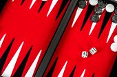 picture of dice  - Backgammon Red Board with Dice - JPG