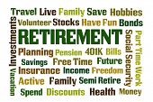 stock photo of retirement  - Retirement word cloud on white background - JPG