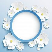 image of sakura  - Beautiful trendy round frame with 3d white flowers sakura  - JPG