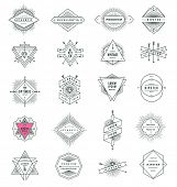image of signs  - Vector set of hipster line signs and emblems with sunburst - JPG