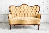 pic of sofa  - Brown Retro classical style sofa couch in vintage room  - JPG