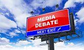 picture of debate  - Media Debate Inscription on Red Billboard on Sky Background - JPG