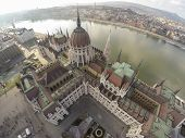 stock photo of hungarian  - Hungarian parliament in Budapest seen from above - JPG
