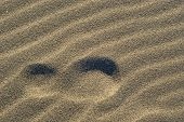 picture of footprints sand  - The footprint on the sand with wavy texture - JPG