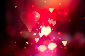 image of valentine card  - Glowing Red hearts love background - JPG