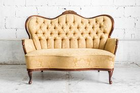 image of couch  - Brown Retro classical style sofa couch in vintage room  - JPG