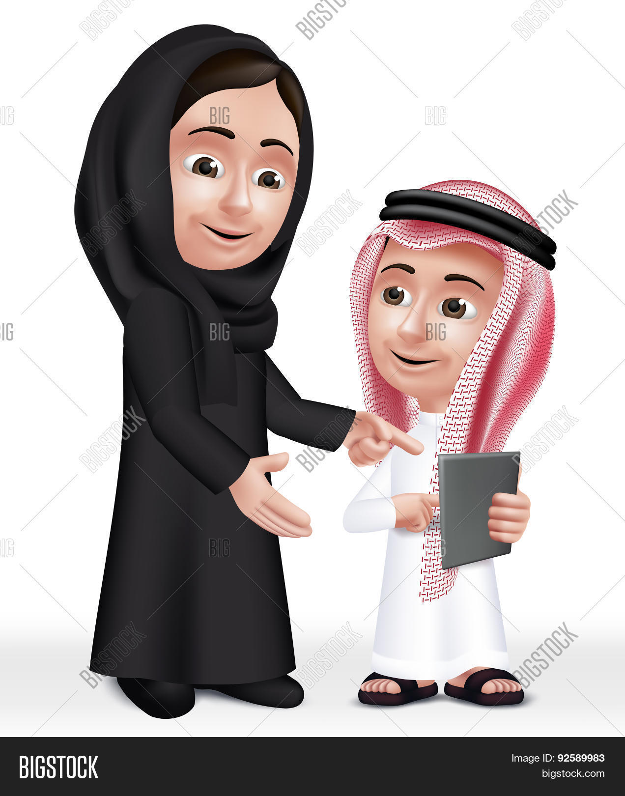 Realistic 3D Arab Teacher Woman Character Teaching Boy Stock ...