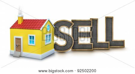 Sell text with 3d house