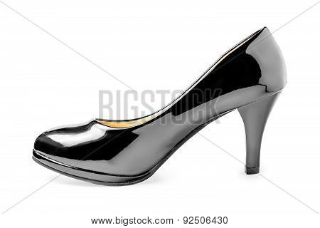 One New Black Patent Leather Shoes On A White Background