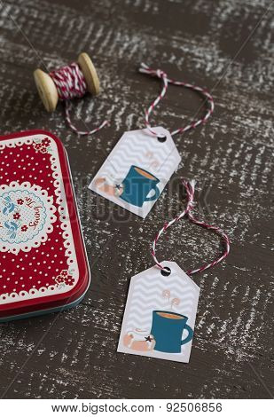 Paper Tag In Vintage Style On Dark Brown Wooden Background