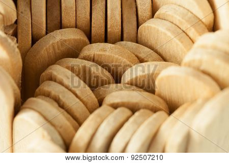 Top view of heap of dense wooden ice cream sticks