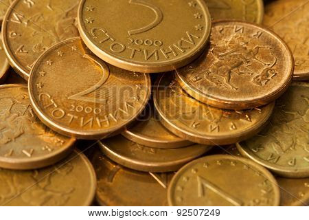 Sofia, Bulgaria - March 15, 2015: Smallest Bulgarian coins