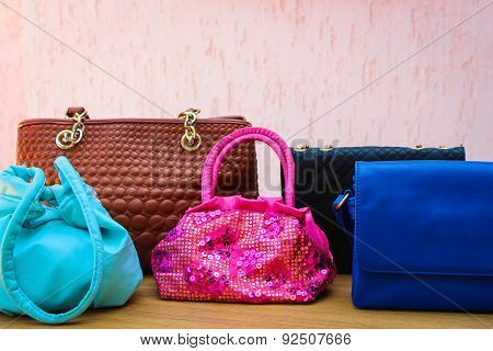 colored handbags closeup