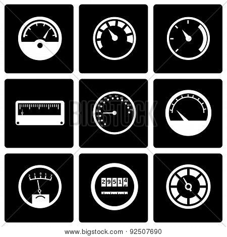 Vector black meter icon set