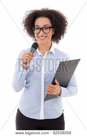 Young African American Female Reporter With Microphone Taking Interview Isolated On White