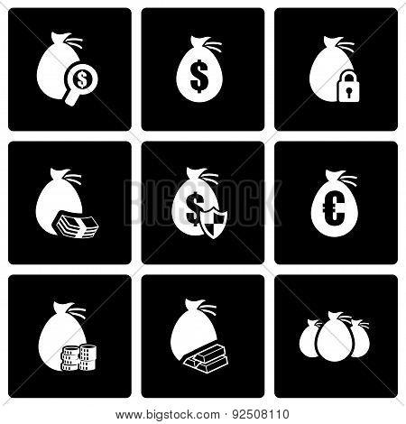 Vector black money icon set