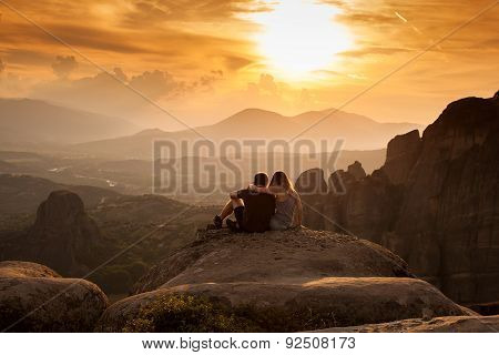 Meteora Monasteries on the sunset