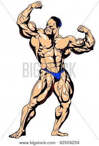 Muscular bodybuilder front view