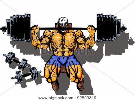 bodybuilder workout hard