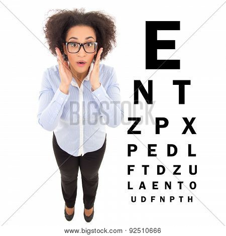 Ophthalmology Concept - Beautiful African American Woman In Eyeglasses And Eye Test Chart Isolated O
