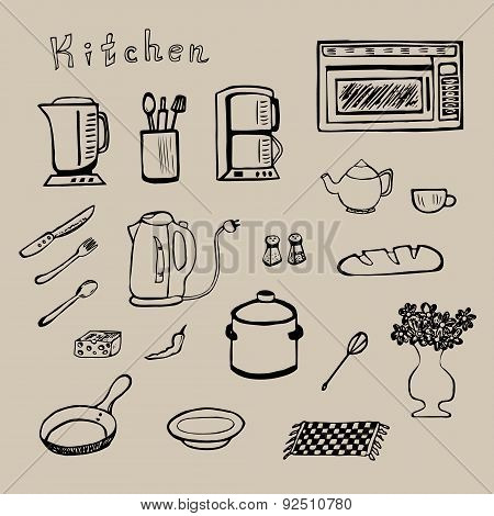 Hand drawn kitchen tools set - vector