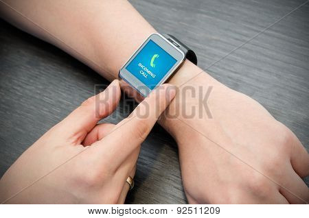 Incoming Call Notification On Smart Watch Connected To Smart Phone