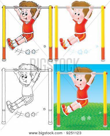 Boy training on a horizontal bar