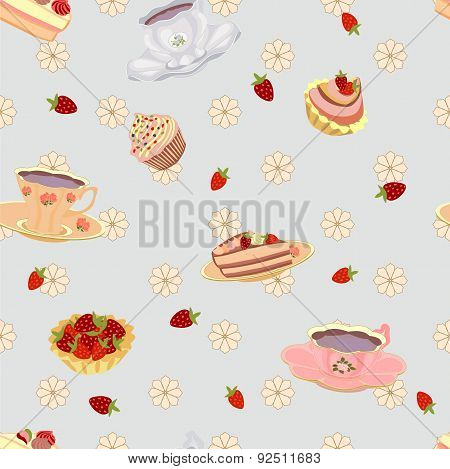 Vector repeating pattern from the cups, cake, cupcakes and strawberries.