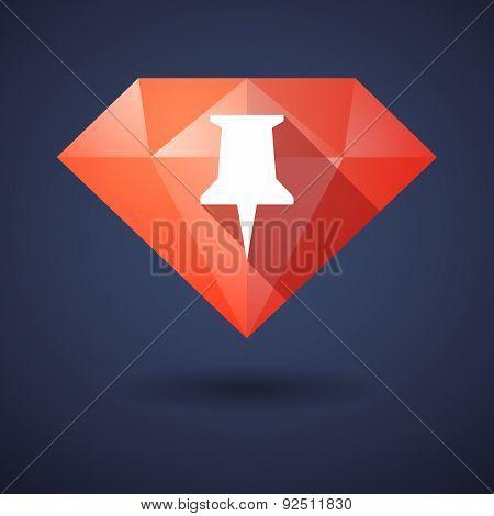 Diamond Icon With A Pushpin