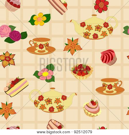 Vector repeating pattern from the kettle, cups, cake, cupcakes and flowers.