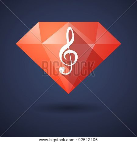 Diamond Icon With A G Clef