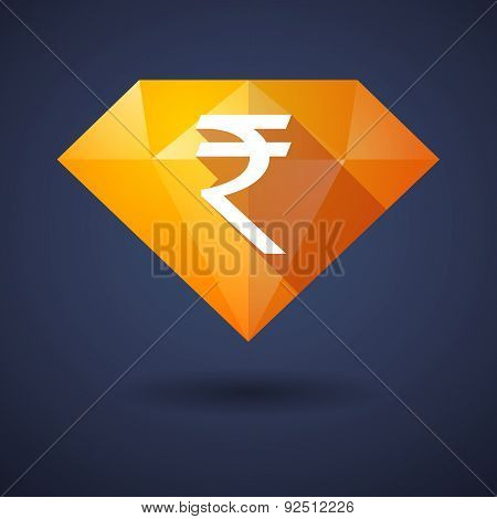 Diamond Icon With A Rupee Sign