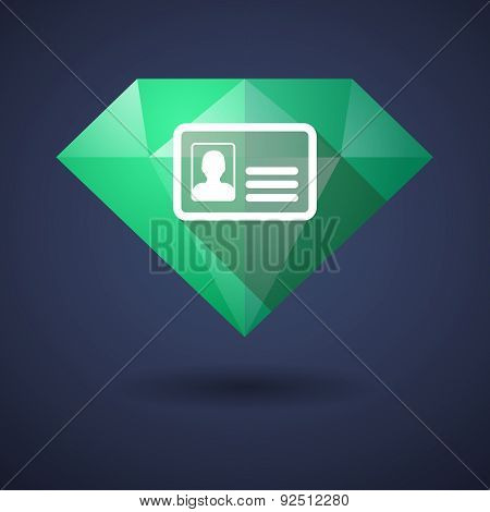 Diamond Icon With An Id Card