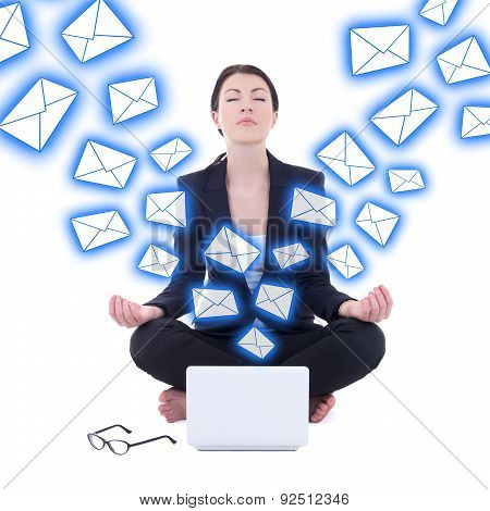 Spam Concept - Young Businesswoman Sitting In Yoga Pose With Laptop Isolated On White