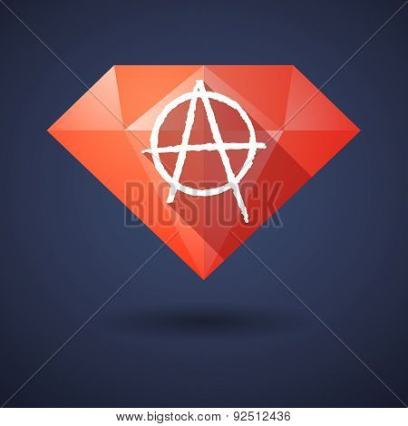 Diamond Icon With An Anarchy Sign